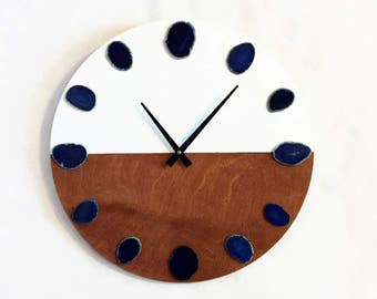 Large Wall Clock, Blue Agate Clock,  Modern Wall Clocks, Home and Living, Home Decor, Decor and Housewares