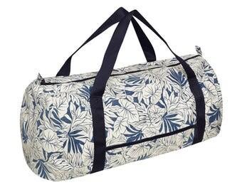 """ALOHA tropical print weekend bag """"blue and white palms"""""""