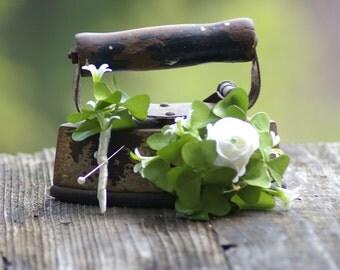 Ivory Silk Rose Saint Patrick Irish Green Boutonniere or Corsage