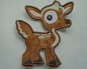 Wide eyed Forest Friends Deer iron on or sew on applique patch