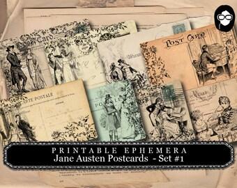 Jane Austen Print - Sense And Sensibility - Postcards Set #1 - 2 Pg Instant Download - pride and prejudice, jane austen quote, journal cards
