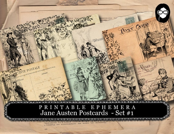 Jane Austen Print - Sense And Sensibility - Postcards Set #1 - 2 Pg Instant Download - pride and prejudice, jane austen quote, journal cards