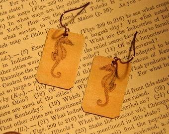 Seahorse earrings Seahorse jewelry mixed media jewelry