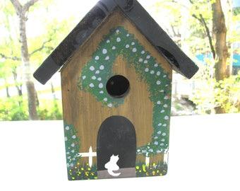 "Handpainted birdhouse, 9 1/2"" high, 7 1/2"" wide, wood birdhouse"