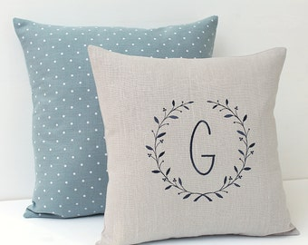 Decorative pillows Personalized Decorative Cushion set Monogram pillow Linen pillows Embroidered monogrammed pillow Dotted pillows