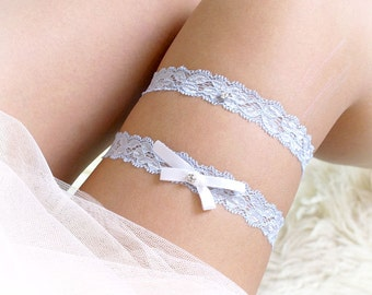 SALE Set of 2 Something Blue Wedding Garter, Pale Light Baby Blue  Lace Garter White Bow Garter Set Bridal Lingerie Keepsake Toss Simple