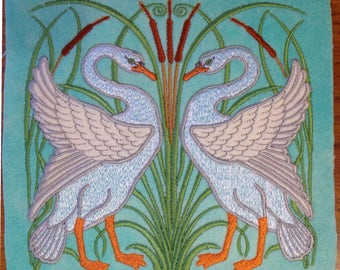 Walter Crane Swans Art Nouveau Appliqued and  Embroidered Wool Tile