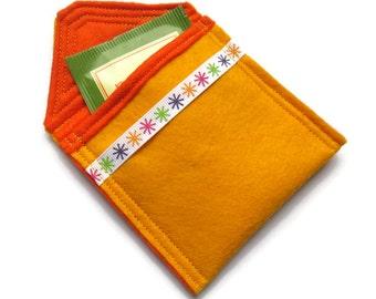 Yellow Felt Tea Bag Holder - Travel Case for Tea Bags - Felt Tea Bag Pouch - Handbag Tea Bag Pouch