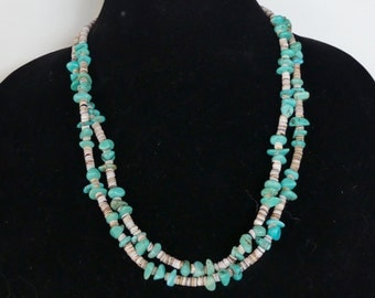23 Inch Vintage Double Strand Morceni Turquoise e and Gray Shell Heishi Necklace with Earrings
