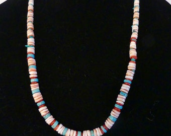 25 Inch Graduated Red Lip Heishi with Turquoise and Mother of Pearl and Earrings