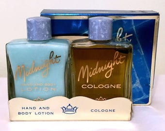 Vintage 1950s Tussy MIDNIGHT Lotion & Cologne Set - Full 2oz Bottles