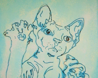 Cat painting/drawing canvas - original art acrylic transfer Devon Rex