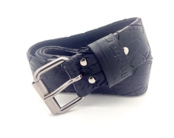 """Bicycle Tire Belt """"RUBBER"""" (upcycled vegan handmade) by tirebelt.com - Fall 2016"""
