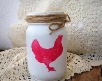 Red Chicken Painted Mason Jar, Pint Sized Mason Jar Hand Painted, Hen Chicken Motif Rustic Home Decor, Decorative Mason Jar, Kitchen Gift