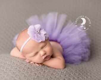 Lavender Tutu and Matching Purple Shabby Chic Couture Flower Headband (SET) - NEWBORN size - Beautiful Newborn Girl Photo Prop and Keepsake