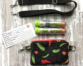 EpiPen Case with Strap, Kids EpiPen Pouch,  Diabetic Supplies, Insulated EpiPen Bag, Kids Insulin Case, EpiPen Pouch Strap,Cross Body Strap