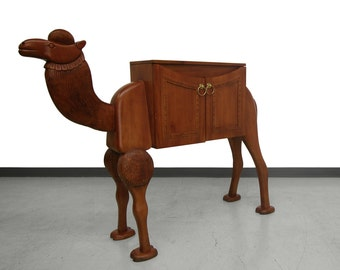 Rare Vintage Hand-Carved Turkish Camel Liquor Cabinet Bar