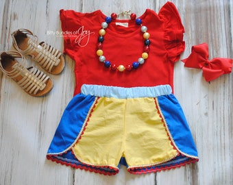 Snow White Inspired Shorts - Coachella Shorts - Princess Outfit - Princess Shorts - Snow White Outfit - Snow White Birthday Outfit