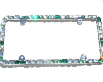 Chunky Jewel Custom Mix Greens with AB and Clear Crystal Rhinestone License Plate Frame (4 Screw Holes) Diamond Bling Sparkle Bedazzle