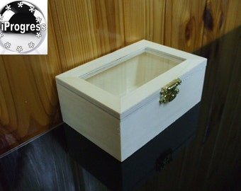 Unfinished Hinged Wooden Box 4.7X3.2X1.9 inches with Glass Lid