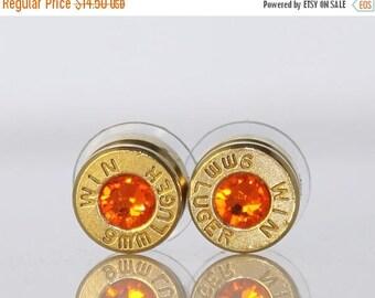 30% OFF SALE Bullet Earrings. Sun Orange . 9mm Luger. by Lori Davidson