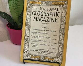 Vintage Magazine, April 1927, National Geographic, free shipping US & Canada