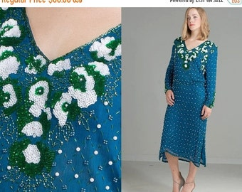 50% OFF ENTIRE STORE Vintage 70s 90s Sequin Silk Oversized Beaded Dress // Midi //