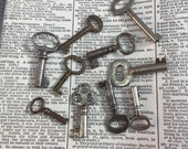 Antique Skeleton keys - set of 10  - vintage hollow barrel skeleton key - vintage key charm - small old key - Steampunk key Assemblage key