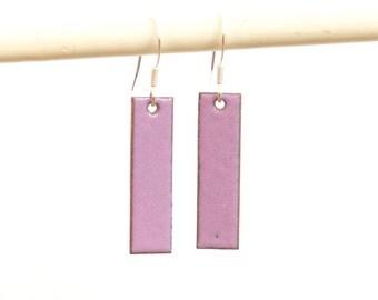 Lilac enamel earrings - soft purple earrings - rectangular earrings - geometric jewellery gift - lilac drop earrings - earrings gift for her