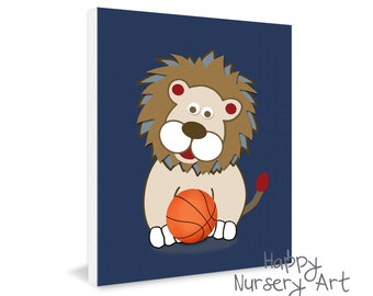 Baby Room Basketball art, Lion basketball nursery art, Safari Animals Nursery Artwork, Baby Boy Room Decoration, Sports Nursery Decor, Baby