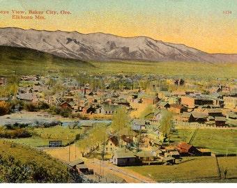 Vintage Postcard...Oregon, Baker City, Birdseye View, Elkhorn Mtn....Unused...no. OR0002