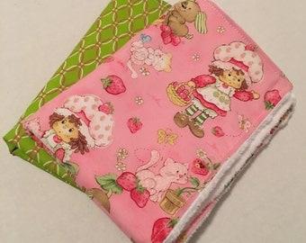 Handmade Strawberry Shortcake Burp Cloth Set