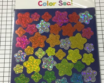 Color Seal STAR In Assorted Size Cute Scrapbooking Sticker Supplies Schedule