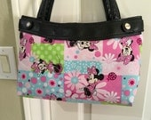 Minnie Mouse Pink and sweet spring green squared Skirt Purse Skirt HANDMADE Thirty One skirt