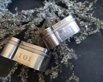 French You and Me pair of napkin rings - French Art Deco silver plated napkin rings Silverware Wedding Gift