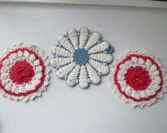 Three Vintage Round Pot Holders