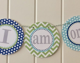 SWEET ELEPHANT Highchair Banner - I Am One - Party Packs Available