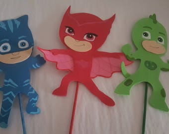 Pj Masks party decoration, centerpiece, foam figures set, cake toppers