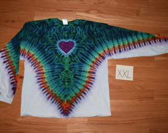 Tie Dye T-Shirt ~ Fire V with Aqua Scrunch, Purple Heart, and White Background~ C_0128 Long Sleeve 2XL
