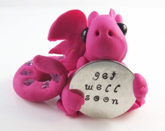 Polymer clay hot pink baby dragon get well soon