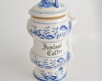 Vintage Blue Onion Instant Coffee Canister Blue and Ivory Japan
