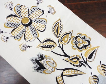 Vintage Linen Hand Towel - Abstract Florals with Metallic Gold, Gray  Black - Unused