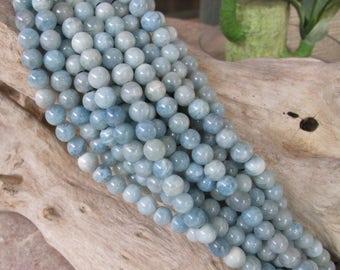 8mm Large Hole Bead Aquamarine Round Blue -Blue Green Natural Gemstone Big 2.5 Hole 12 beads
