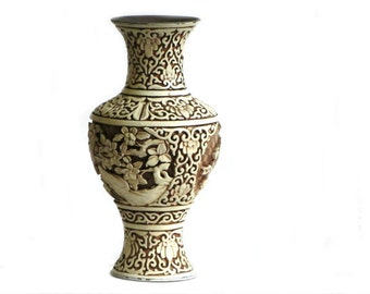 Asian Faux Bone Carved Floral Blossom Vase Brass and Resin Highly Detailed Arnart Imports