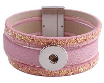 """1 Pink Leather Bracelet - 7.25"""" Fits 18MM Candy Snap Charms Silver KC0257 CJ0767"""