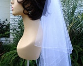 Bridal Veil, Waist Length Veil, 2 Tier Veil, Crystal Pearl Veil, Circular Veil, Pencil Edge Veil, REX3050