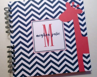 Baby Book |  Baby Memory Album | Navy Pink Giraffe Wire Bound Baby Memory Book Keepsake Album