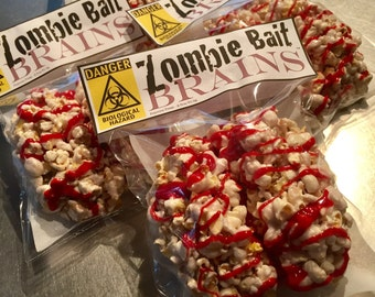"Delivered Zombie Party Favors for Walking Dead Fan Zombie Bait ""Brains"" for Zombie Apocalypse, Zombieland Halloween Party: 12 Popcorn Treats"