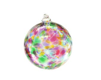 Glass Ornament, Blown Glass Ornament, Christmas Ornament, Witches Ball, Multicolor Glass