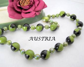 Mid Century Bead Necklace - Geometric Signed Austria - Green Black Irridescent